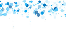 Colorful Circle Confetti Vector Background. Abstract Snow, Blue Cyan Snowflakes Flying.