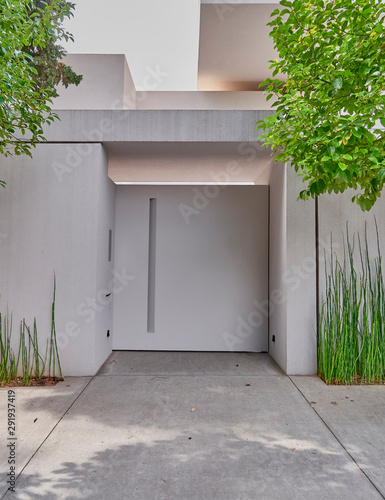Fotomural  white washed modern house entrance metallic door and bambou plants