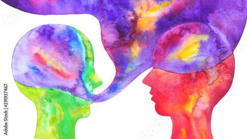 disegno acquerello due persone si discutono sfondo bianco isolato Wallpaper Mural