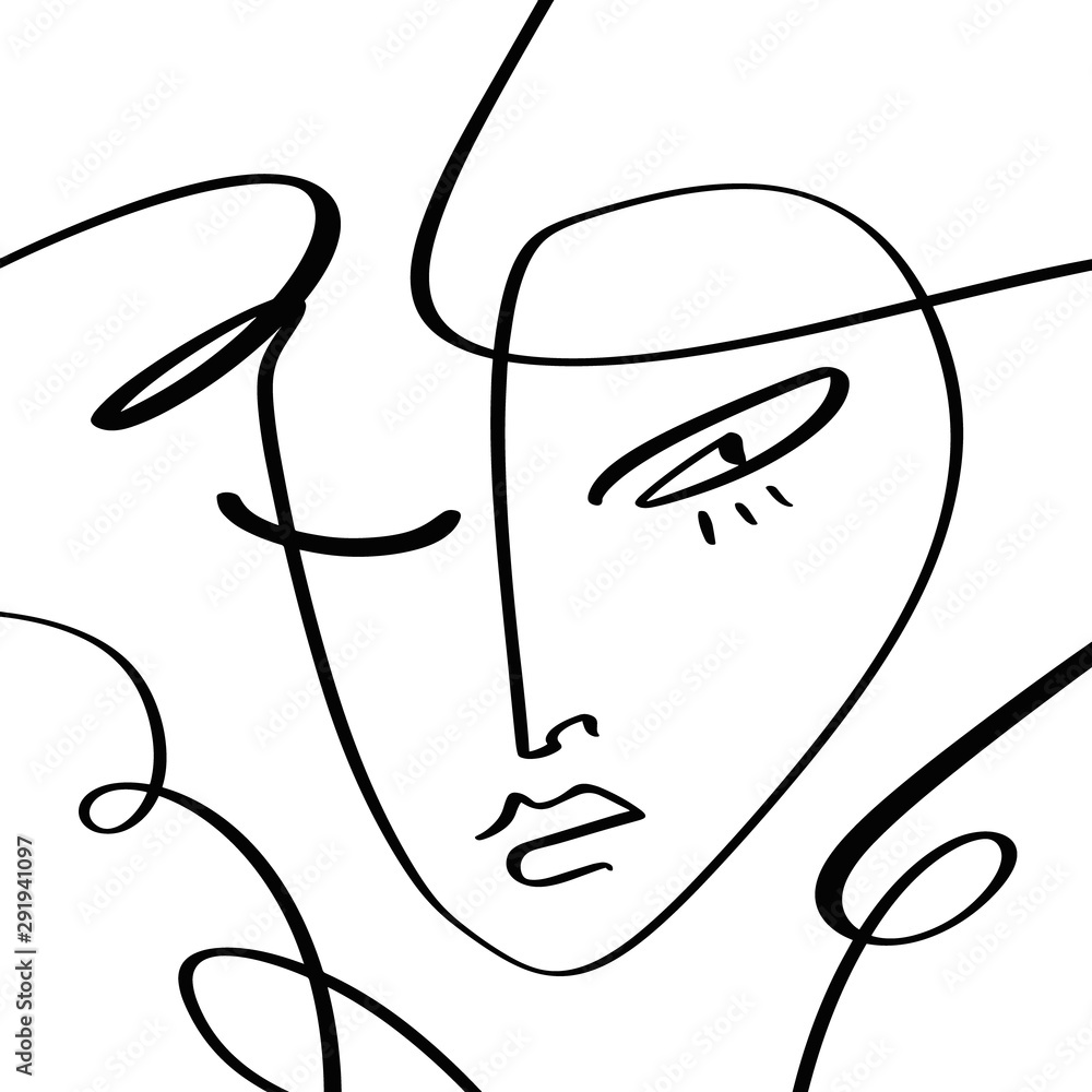Simple hand drawn black and white trendy line portrait art. Abstract composition. Monochrome print for clothes, textile and other. Vector