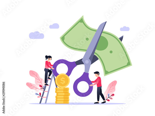 Papel de parede Small people with scissors cutting dollar together