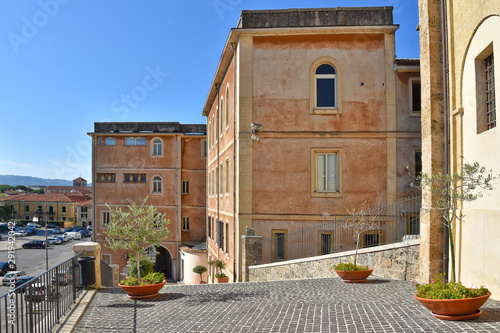 The building of a cathedral in an old town in the Lazio region.