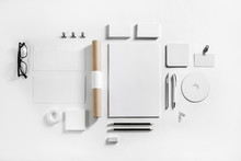 Blank Corporate Stationery Set On Paper Background. Template For Branding Design. Branding Mock Up. Flat Lay.