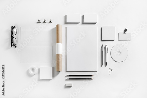 Fotografía Blank corporate stationery set on paper background