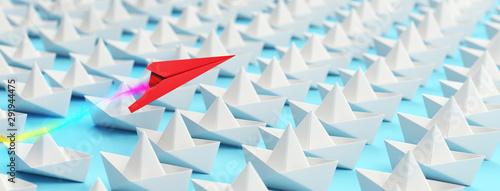 Obraz Papierflieger über Booten als Individualität Konzept - fototapety do salonu