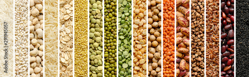 Fotografia Collage of Cereals and legumes food background
