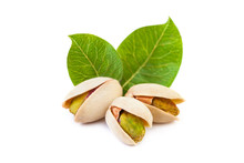 Pistachio Nuts With Leaves Iso...