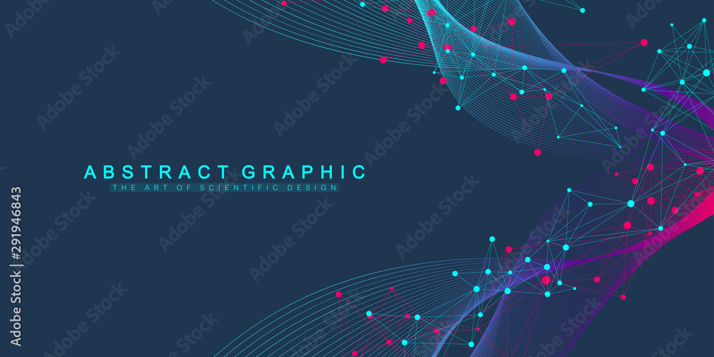 Fototapeta Expansion of life. Colorful explosion background with connected line and dots, wave flow. Visualization Quantum technology. Abstract graphic background explosion, motion burst, vector illustration.
