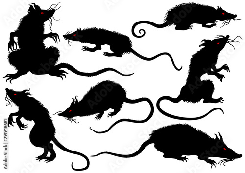 Cuadros en Lienzo Halloween rats horror set/ Illustration fantasy grotesque rats with red eyes