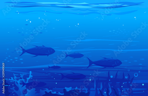 Ocean underwater background with flock of tuna fish, underwater sea with many di Wallpaper Mural