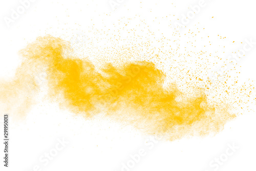 Fotografía Abstract yellow powder explosion on white background