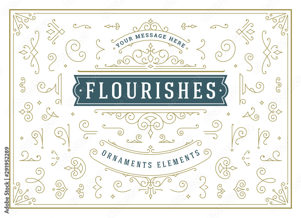 Fototapety, obrazy: Vintage ornaments swirls and scrolls decorations design elements vector set, flourish ornate calligraphic combinations