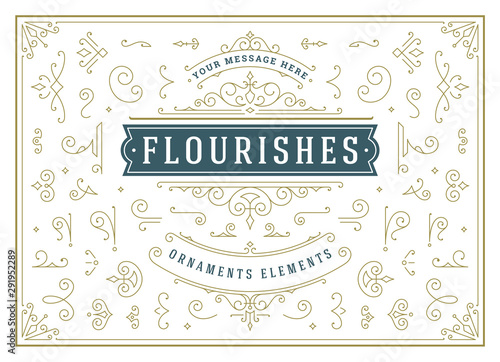 Vintage ornaments swirls and scrolls decorations design elements vector set, flo Canvas-taulu