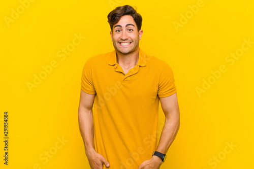 looking happy and goofy with a broad, fun, loony smile and eyes wide open Canvas Print