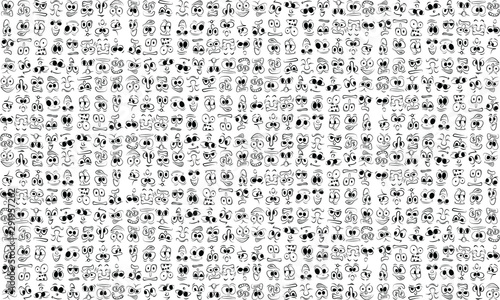 cartoon face expressions vector set
