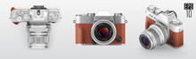 Ultra Realistic 3d Isometric Retro Photo Camera Set. With Brown Leather Part. Top Front And 3d View Vector Illustration
