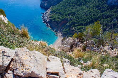 Canvas Print Mallorca blue lagooon panorama view with Mountains and green forest and blue sky