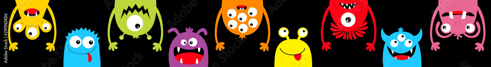 Fototapety, obrazy: Monster colorful round silhouette icon set line. Happy Halloween. Eyes, tongue, tooth fang, hands up. Cute cartoon kawaii scary funny baby character. Black background. Flat design.