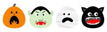 Happy Halloween Icon Set Line. Vampire Count Dracula, Mummy, Pumpkin, Cat Round Face Head. Cute Cartoon Funny Spooky Baby Character. Greeting Card. Flat Design Orange Background.