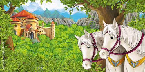 cartoon scene with mountains valley near the forest castle and horse illustration for children - 291961621