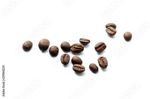 Foto op Canvas koffiebar Coffee beans. Isolated on a white background.