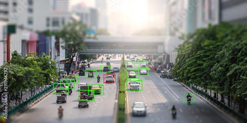 Obraz Cctv camera on the road . artificial intelligence . secutity concept .  - fototapety do salonu