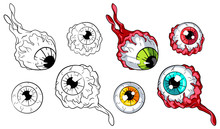 Various Eyeballs Vector Illustration Set. Colored And Line Art Versions. For Web, Clothes And Graphic Design, Prints, Posters, Cover, Package, Stickers, Cards And Party Invitations. Halloween Design
