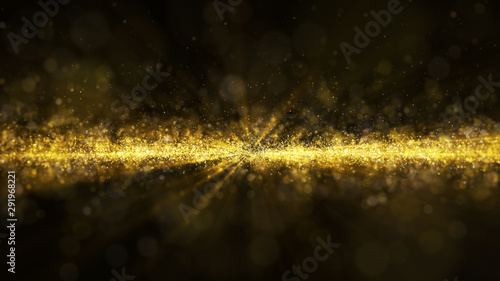 Photo sur Toile Oiseaux sur arbre Glow golden dust particle glitter sparks abstract background for celebration with light beam and shine in center.Camera fly through.