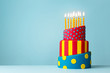 canvas print picture - Colorful birthday cake