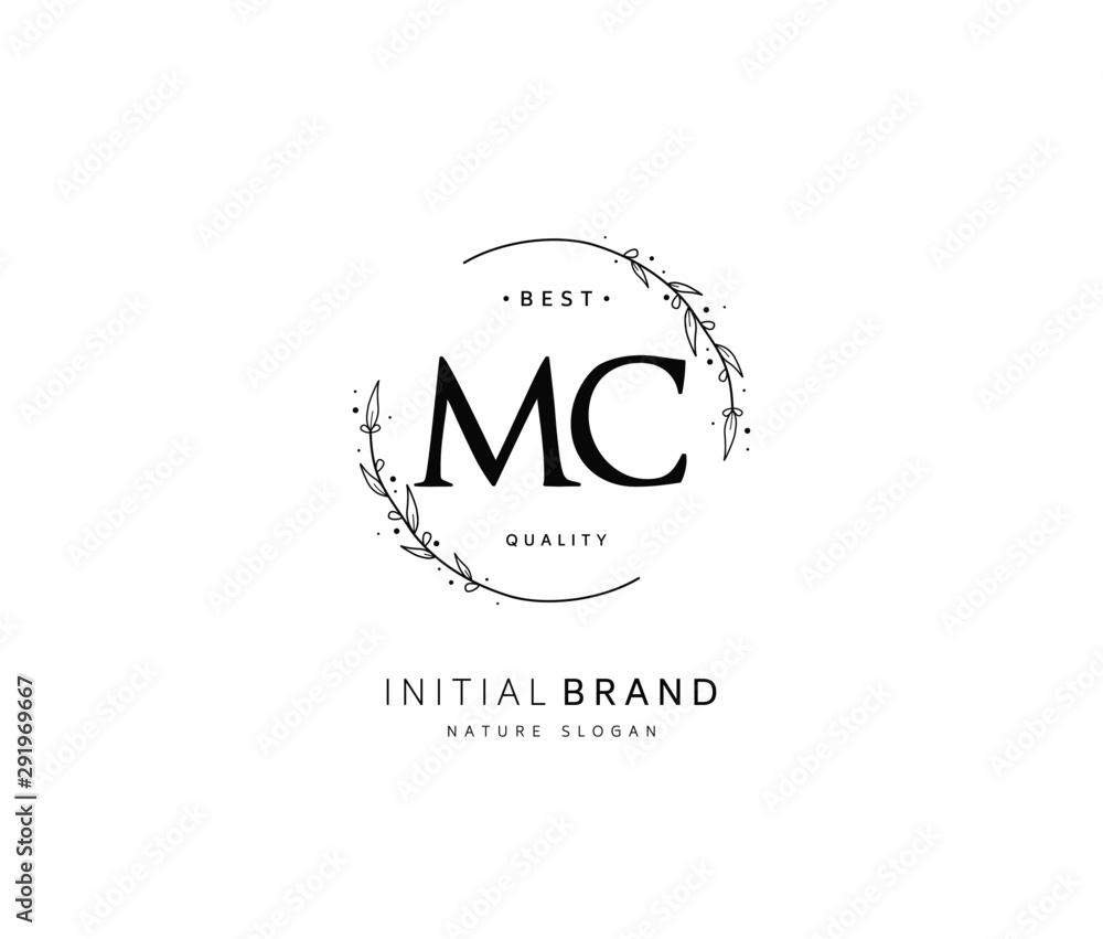 Fototapeta M C MC Beauty vector initial logo, handwriting logo of initial signature, wedding, fashion, jewerly, boutique, floral and botanical with creative template for any company or business.