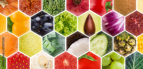 Collage of fresh fruits and vegetables in frames on background - 291971242