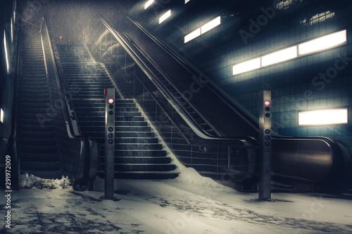 Foto auf AluDibond Eisenbahnschienen Der Wintereinbruch