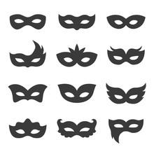 Set Of Vector Black Carnival M...