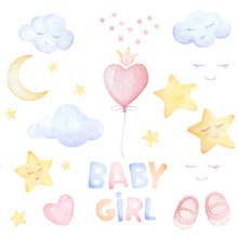 Watercolor Set. Baby Girl. Bab...