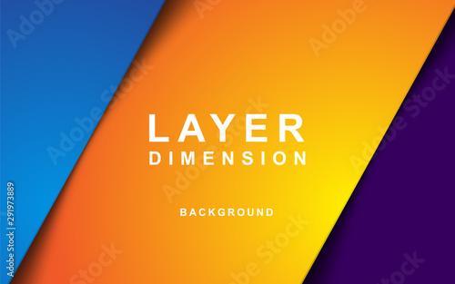 Fototapeta Color dimension background vector. Realistic purple, yellow and blue overlap layer vector illustration. obraz