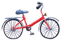 Bicycle, Hand Drawn Watercolor...