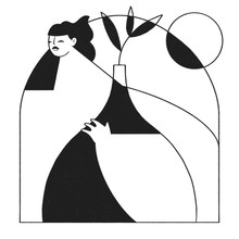 Woman With Plant Vase In Black...