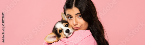 young woman holding cute Corgi puppy, isolated on pink Tablou Canvas