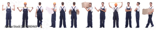 Obraz panoramic collage of male handyman isolated on white - fototapety do salonu