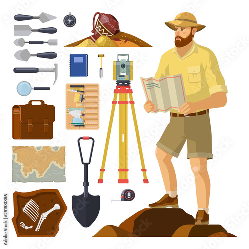 Archaeologist near archaeology items. Paleontology Canvas Print