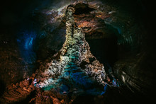 Lava Tube On A Volcanic Island. This Is A Tunnel After Volcano Eruption.