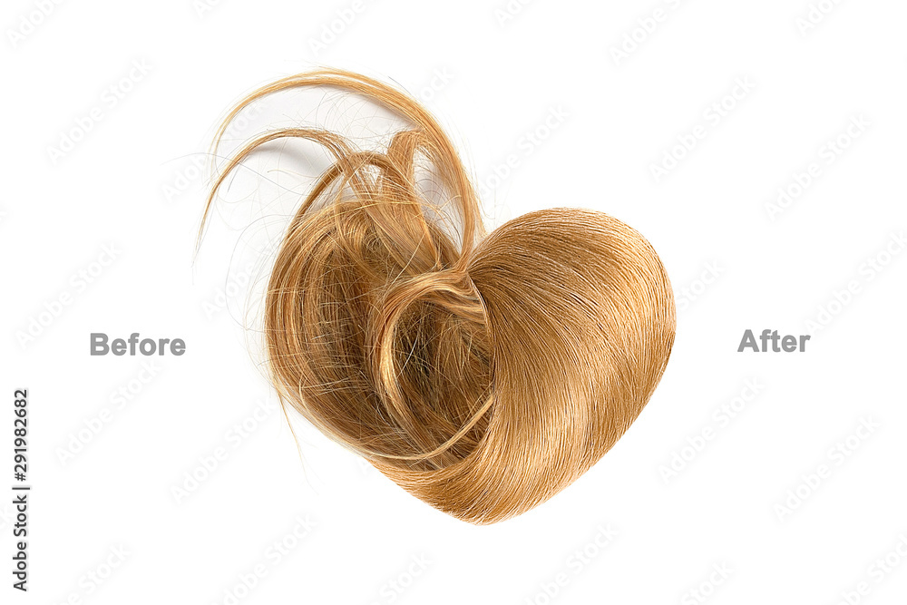Fototapeta Brown hair in shape of heart before and after brushing, isolated on white background. Haircare procedure concept
