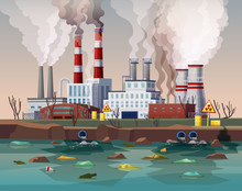 Power Plant Air Pollution Or Industry Factory