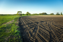 Traces Of Tractor Wheels In A Plowed Field