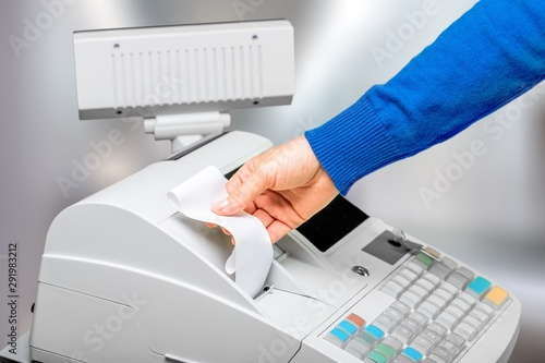 Foto auf AluDibond Natur Cash register with LCD display on background