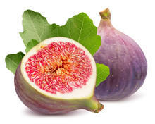 Fig With Half Of Fig And Leaves Isolated On A White Background