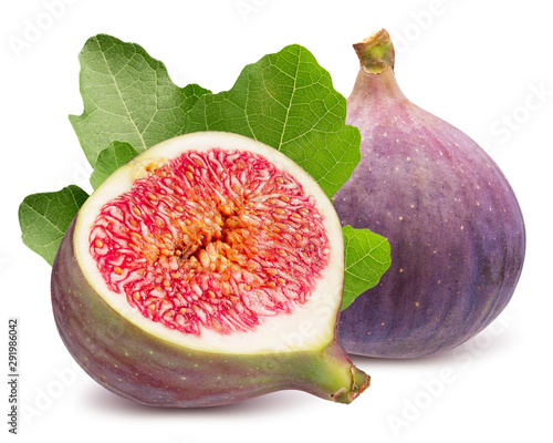 fig with half of fig and leaves isolated on a white background #291986042