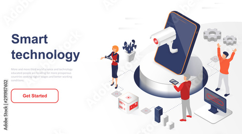 Cuadros en Lienzo  Isometric landing page smart technology or network flat concept
