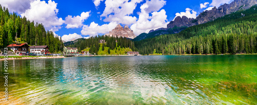 Beautiful mountain lake Lago di Misurina in Dolomites, northen Italy,Belluno