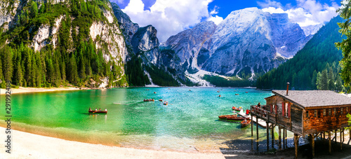 Breathtaking Alpine scenery, Dolomite mountains. beautiful lake Lago di Braies. northen Italy